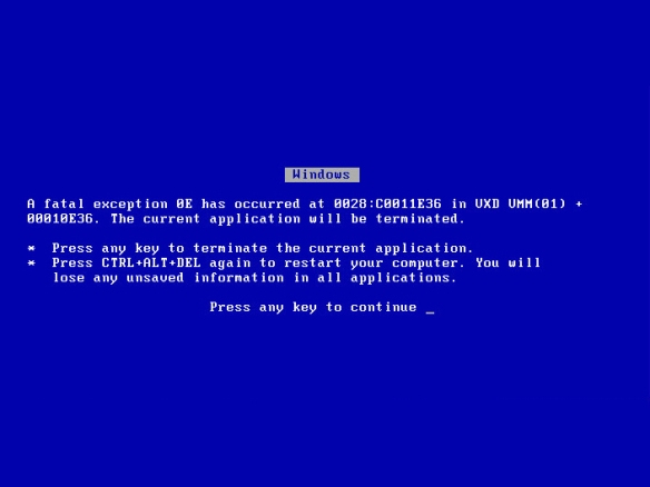 BSoD (Blue Screen of Death)