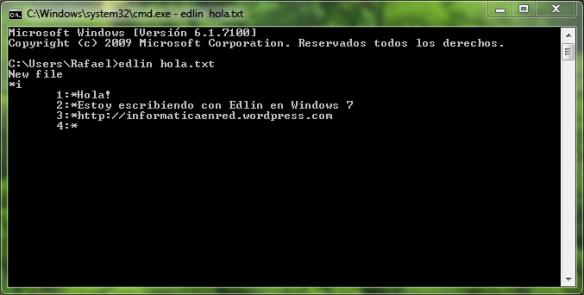 Edlin en Windows 7