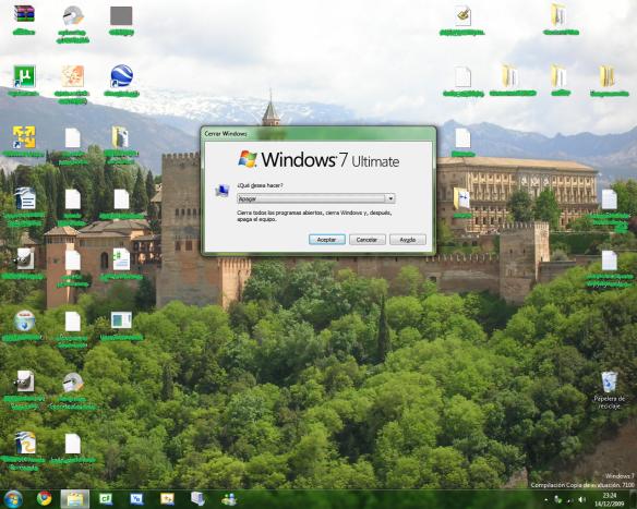 Ventana clásica de apagado en Windows 7